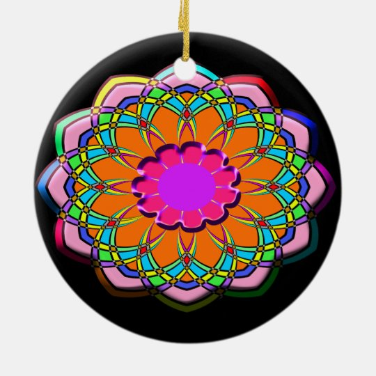 Colourful abstract flower ceramic ornament