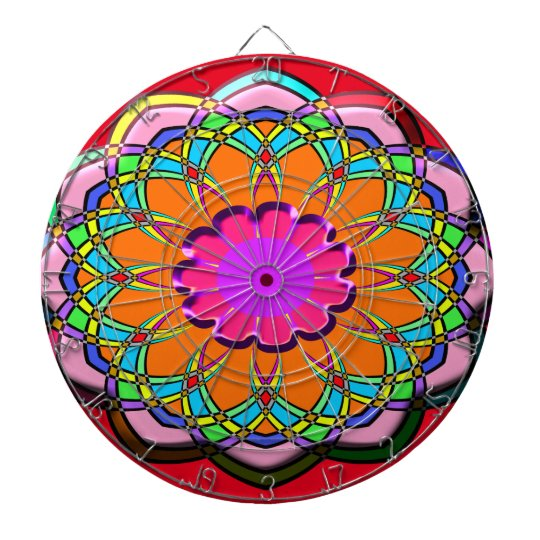 Colourful abstract flower dartboard