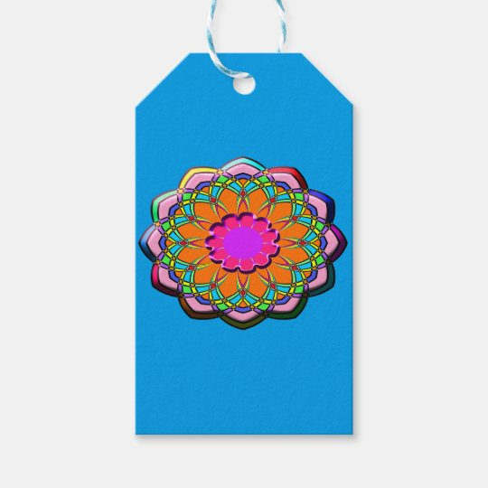 Colourful abstract flower gift tags