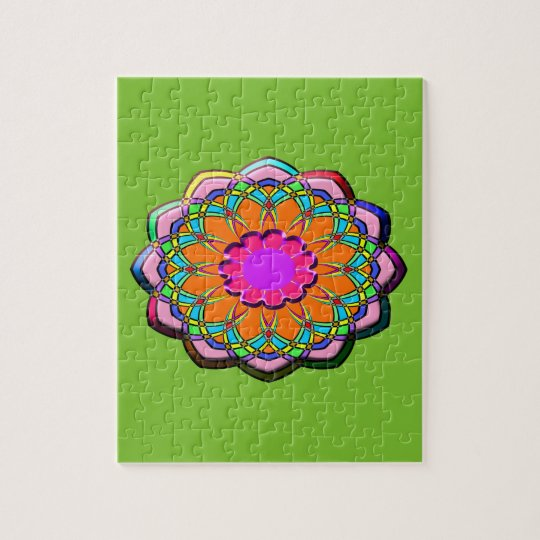Colourful abstract flower jigsaw puzzle