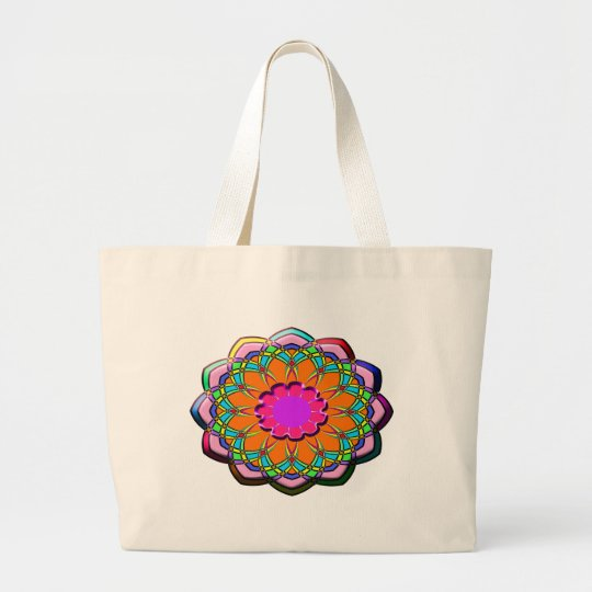 Colourful abstract flower large tote bag