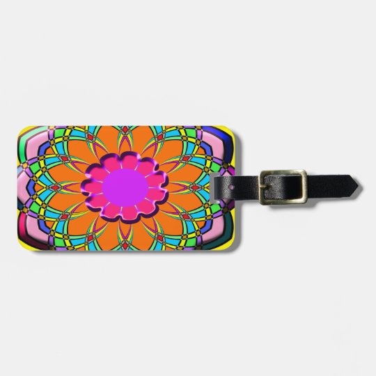 Colourful abstract flower luggage tag