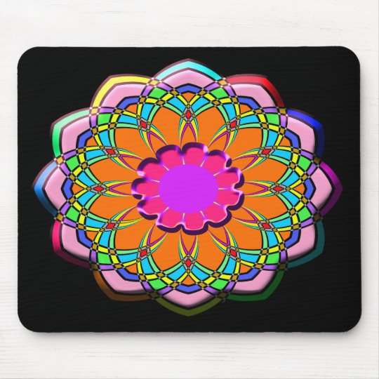 Colourful abstract flower mouse pad