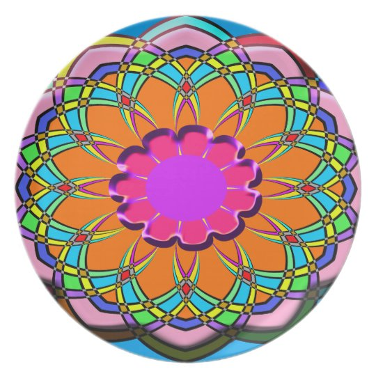 Colourful abstract flower plate