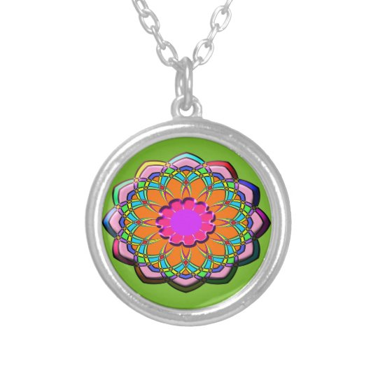 Colourful abstract flower silver plated necklace