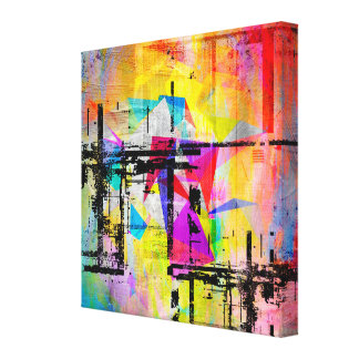 Colourful Abstract Geometric Abstract Landscape Canvas Print