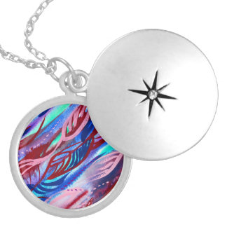 Colourful Abstract Leaf Watercolor Necklace Locket