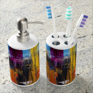 Colourful Abstract Original Painting Bathroom Set