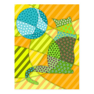 Colourful Abstract Patchwork Cat Postcard