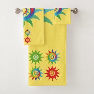 Colourful abstract shape bath towel set