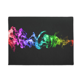 Colourful Abstract Smoke - A Rainbow in the Dark Doormat