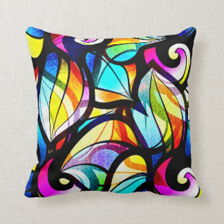 Colourful Abstract Stained-glass Design Throw Pillow