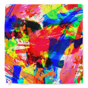 Colourful Abstract Watercolor Personalised Pet Bandana