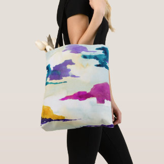 Colourful Abstract Watercolour Painting Tote Bag