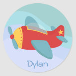 Colourful & Adorable Cartoon Aeroplane Round Sticker
