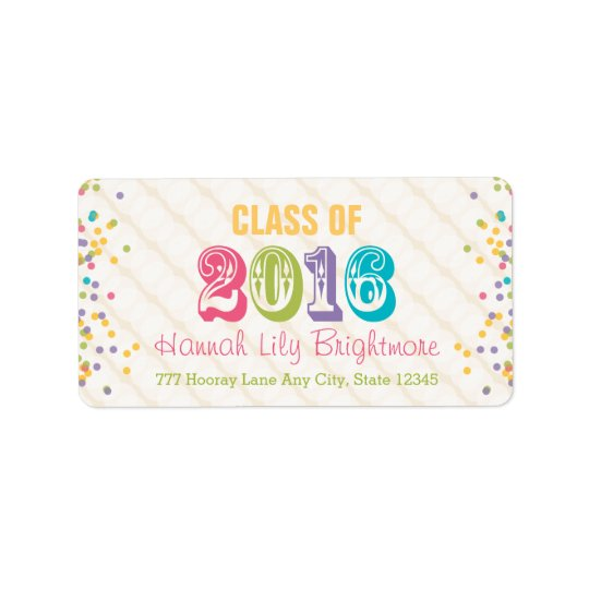 Colourful and Bright Class of 2016 Address Label