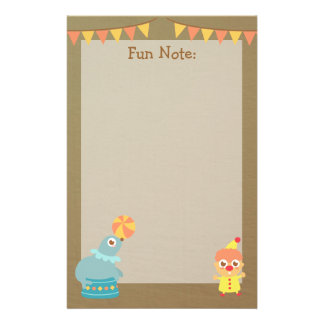 Colourful and Cute Circus Theme Stationery