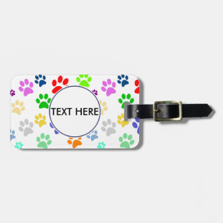 Colourful and Cute Pet Paws Pattern Monogram Luggage Tag