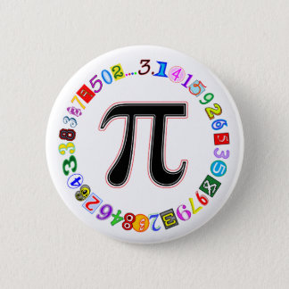 Colourful and Fun Circle of Pi Calculated 6 Cm Round Badge
