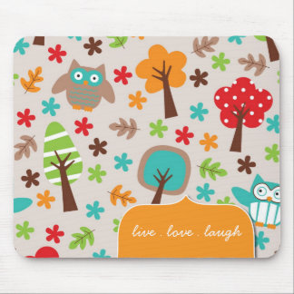 Colourful and Whimsical Owl Mousepad