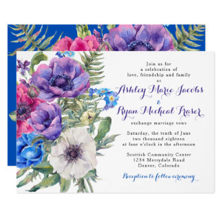 Colorful Anemone Flower Floral Wedding Invitation