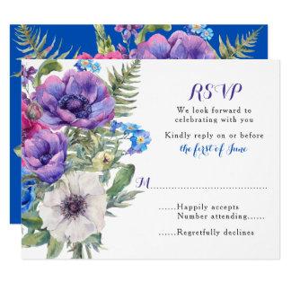 Colorful Anemone Flower Floral Wedding RSVP Card