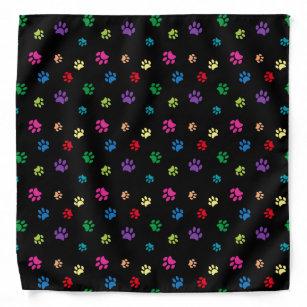 Colourful Animal Paw Prints on Black Bandana