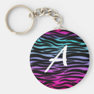 Colourful animal print initial keychain