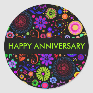 Colourful Anniversary Classic Round Sticker