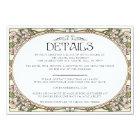Colourful Art Nouveau Wedding Details Card (Set
