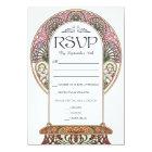 Colourful Art Nouveau Wedding RSVP Cards (Set #9)