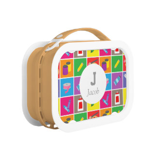 Colourful Arts Crafts Pattern Artist Kids Toolbox Lunch Boxes
