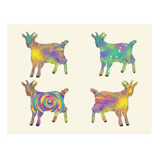 Colourful Artsy Goats Standing on Things Design Postcard
