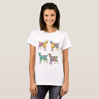 Colourful Artsy Goats Standing on Things Design T-Shirt