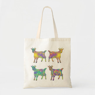 Colourful Artsy Goats Standing on Things Design Tote Bag