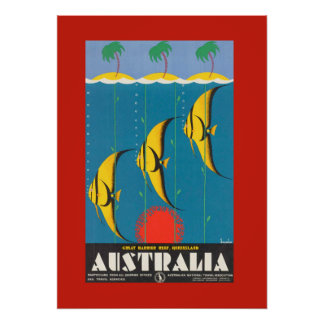 Colourful Australian Fish Travel Poster