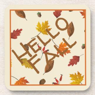 Colourful Autumn Leaves Design Coaster