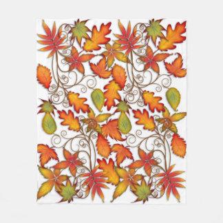 Colourful Autumn Leaves Fleece Blanket