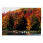 Colourful Autumn Leaves Pond Nature Photo Card