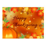Colourful Autumn Leaves - Thanksgiving Postcard