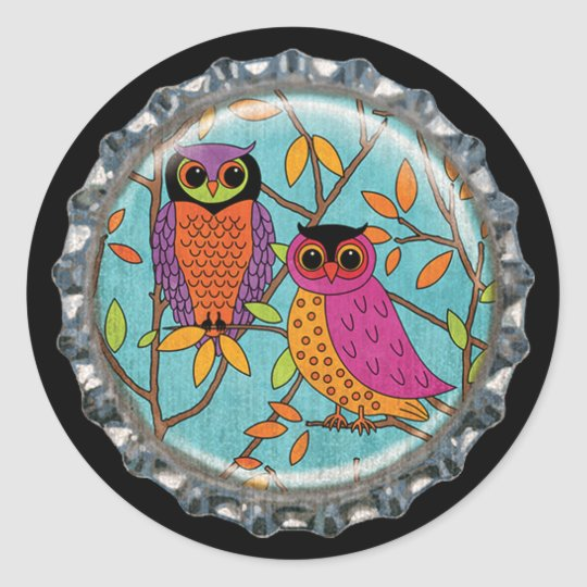 Colourful Autumn Owls Bottle Cap Classic Round Sticker