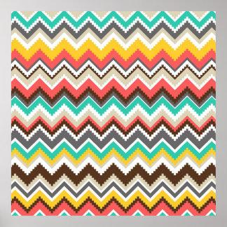 Colourful Aztec Tribal Chevron ZigZag Stripes Prin Poster