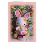 Colourful Baby Bunny with Cake Birthday Card