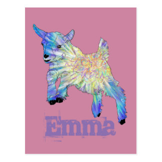 Colourful Baby Goat Jumping Design with Your Name Postcard