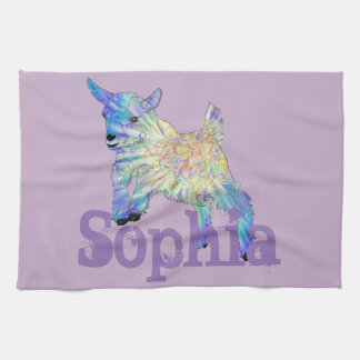 Colourful Baby Goat Jumping Design with Your Name Tea Towel