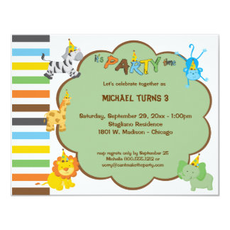Colourful Baby Party Animals Customisable Invite