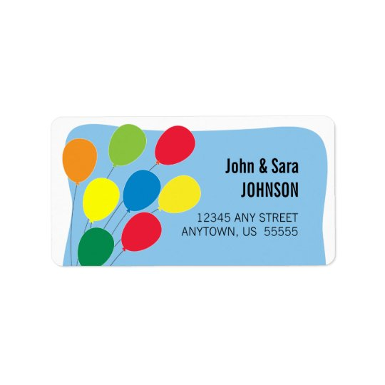 Colourful Balloons on Light Blue Background Address Label