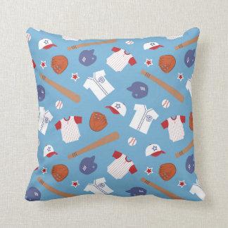 Colourful Baseball Theme Pattern Boys Bedroom Throw Pillows