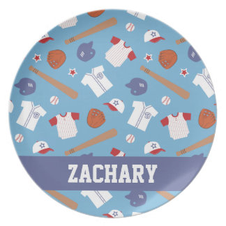 Colourful Baseball Theme Pattern For Boys Party Plates