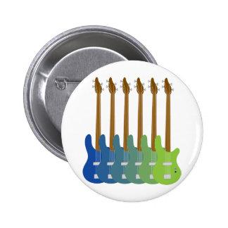 Colourful Bass Guitars Pinback Button